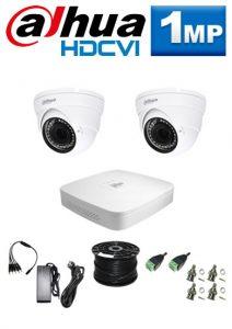 1Mp Custom Dahua HDCVI Package - 4Ch DVR, 2 Dome Cameras