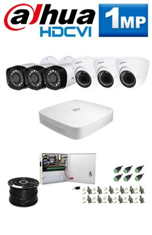 1Mp Custom Dahua HDCVI Package - 8Ch DVR, 6 Bullet x Dome Cameras