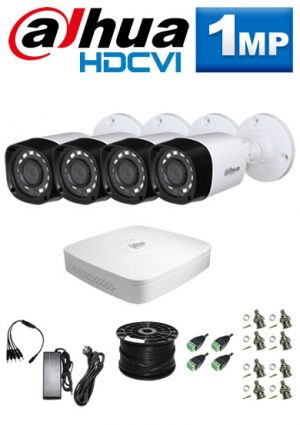 1Mp Custom Dahua HDCVI Package - 4Ch DVR, 4 x Bullet Cameras