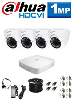 1Mp Custom Dahua HDCVI Package - 4Ch DVR, 4 x Dome Cameras