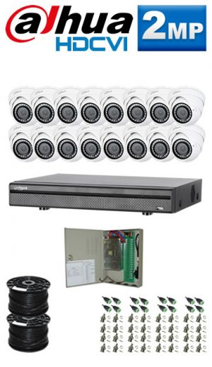 2Mp Custom Dahua HDCVI Package - 16Ch DVR, 16 Dome Cameras