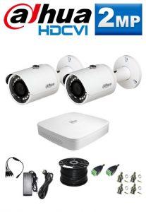 2Mp Custom Dahua HDCVI Package - 4Ch DVR, 2 Bullet Cameras