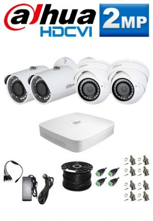 2Mp Custom Dahua HDCVI Package - 4Ch DVR, 4 Bullet x Dome Cameras