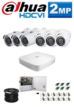 2Mp Custom Dahua HDCVI Package - 8Ch DVR, 6 Bullet x Dome Cameras