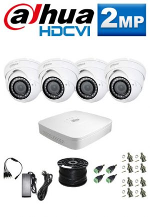 2Mp Custom Dahua HDCVI Package - 4Ch DVR, 4 Dome Cameras