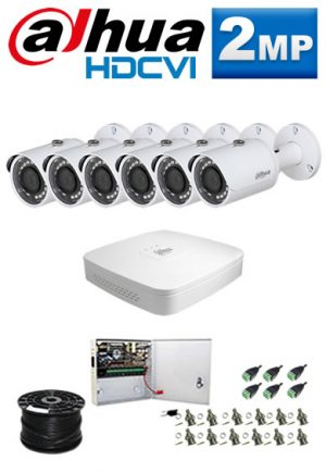 1Mp Custom Dahua HDCVI Package - 8Ch DVR, 6 Bullet Cameras