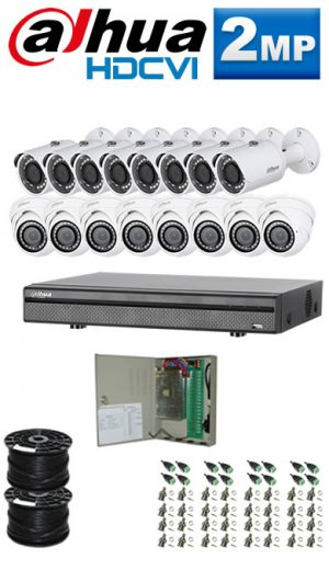 2Mp Custom Dahua HDCVI Package - 16Ch DVR, 16 Bullet x Dome Cameras