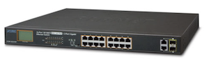 16-Port PoE Ethernet Switch + 2-Port Gigabit with LCD PoE Monitor FGSW-1822VHP