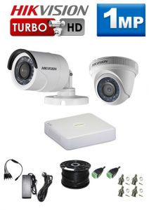 1Mp Custom HIKVISION Turbo HD Package - 4Ch DVR, 2 Bullet x Dome Cameras