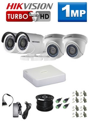 1Mp Custom HIKVISION Turbo HD Package - 4Ch DVR, 4 Bullet x Dome Cameras