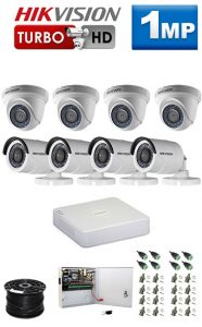 1Mp Custom HIKVISION Turbo HD Package - 8Ch DVR, 8 Bullet x Dome Cameras