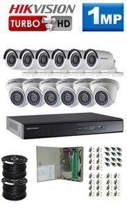 1Mp Custom HIKVISION Turbo HD Package - 16Ch DVR, 12 Bullet x Dome Cameras