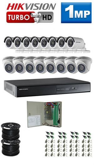 1Mp Custom HIKVISION Turbo HD Package - 16Ch DVR, 16 Bullet x Dome Cameras