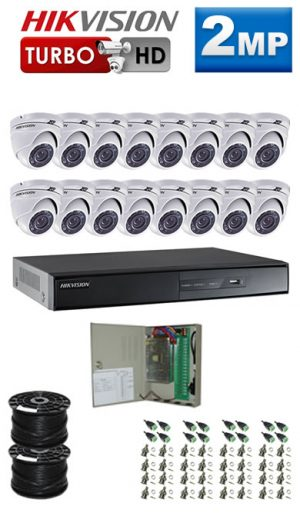 2Mp Custom HIKVISION Turbo HD Package - 16 Ch DVR, 16 Dome Cameras