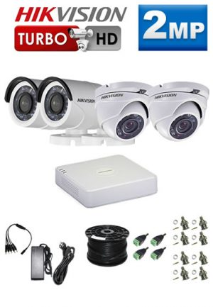 2Mp Custom HIKVISION Turbo HD Package - 4Ch DVR, 4 Bullet x Dome Cameras
