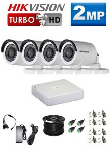 2Mp Custom HIKVISION Turbo HD Package - 4Ch DVR, 4 Bullet Cameras