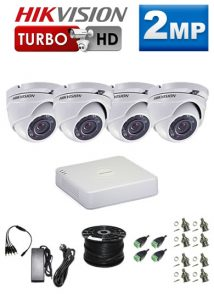 2Mp Custom HIKVISION Turbo HD Package - 4Ch DVR, 4 Dome Cameras