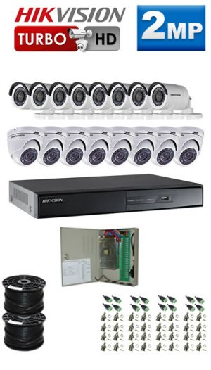 2Mp Custom HIKVISION Turbo HD Package - 16 Ch DVR, 16 Bullet x Dome Cameras
