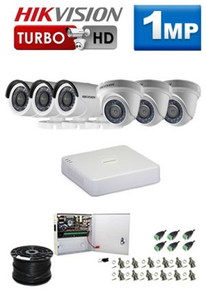 1Mp Custom HIKVISION Turbo HD Package - 8Ch DVR, 6 Bullet x Dome Cameras