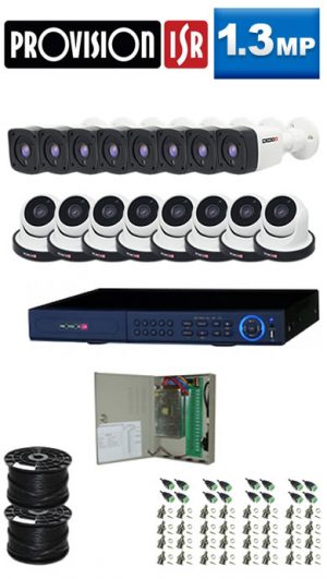 1.3Mp Custom ProVision AHD Package - 16Ch DVR, 16 Bullet x Dome Cameras