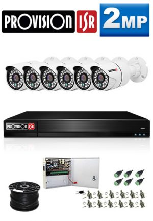 2Mp Custom ProVision AHD Package - 8Ch DVR, 6 Bullet Cameras