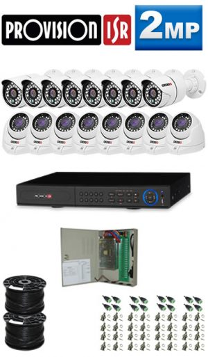 2Mp Custom ProVision AHD Package - 16 Ch DVR, 16 Bullet x Dome Cameras