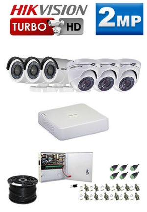 2Mp Custom HIKVISION Turbo HD Package - 8Ch DVR, 6 Bullet x Dome Cameras