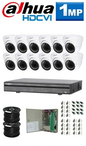 1Mp Custom Dahua HDCVI Package - 16Ch DVR, 12 Dome Cameras