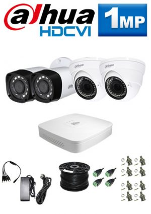 1Mp Custom Dahua HDCVI Package - 4Ch DVR, 4 Bullet x Dome Cameras