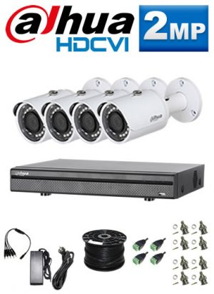 2Mp Custom Dahua HDCVI Package - 1080P 8Ch DVR, 4 Bullet Cameras (SW)