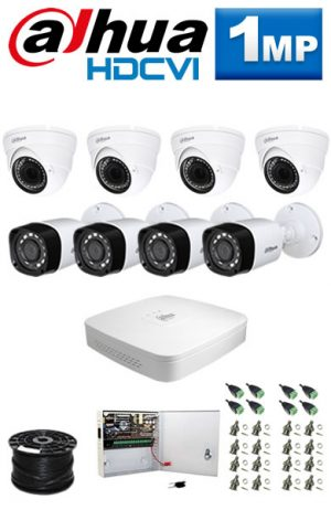 1Mp Custom Dahua HDCVI Package - 8Ch DVR, 8 Bullet x Dome Cameras