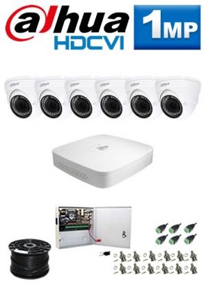1Mp Custom Dahua HDCVI Package - 8Ch DVR, 6 Dome Cameras