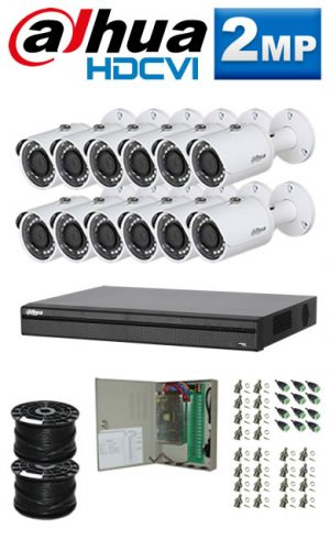 2Mp Custom Dahua HDCVI Package - 1080P 16Ch DVR, 12 Bullet Cameras (SW)