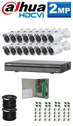 2Mp Custom Dahua HDCVI Package - 16Ch DVR, 16 Bullet Cameras