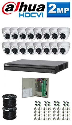 2Mp Custom Dahua HDCVI Package - 1080P 16Ch DVR, 16 Dome Cameras (SW)