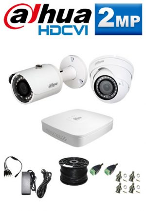 2Mp Custom Dahua HDCVI Package - 4Ch DVR, 2 Bullet x Dome Cameras