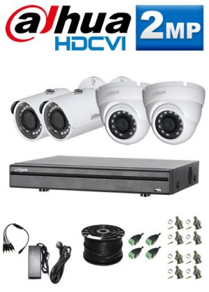 2Mp Custom Dahua HDCVI Package - 1080P 8Ch DVR, 4 Bullet & Dome Cameras (SW)