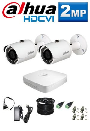 2Mp Custom Dahua HDCVI Package - 4Ch DVR, 2 Bullet Cameras