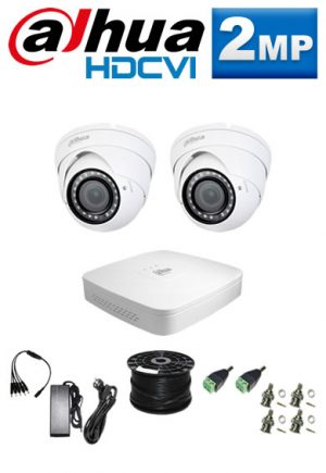 2Mp Custom Dahua HDCVI Package - 4Ch DVR, 2 Dome Cameras