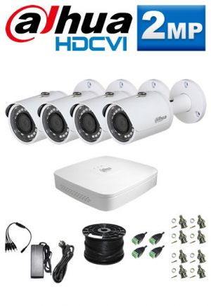 2Mp Custom Dahua HDCVI Package - 4Ch DVR, 4 Bullet Cameras