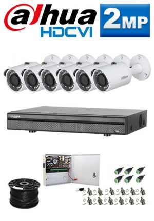 2Mp Custom Dahua HDCVI Package - 1080P 8Ch DVR, 6 Bullet Cameras (SW)