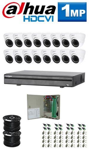 1Mp Custom Dahua HDCVI Package - 16Ch DVR, 16 Dome Cameras