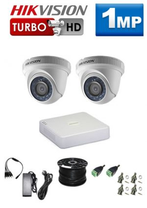 1Mp Custom HIKVISION Turbo HD Package - 4Ch DVR, 2 Dome Cameras