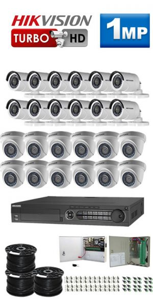 1Mp Custom HIKVISION Turbo HD Package - 32Ch DVR, 24 Bullet x Dome Cameras