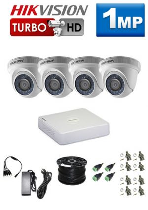 1Mp Custom HIKVISION HDCVI Package - 4Ch DVR, 4 x Dome Cameras