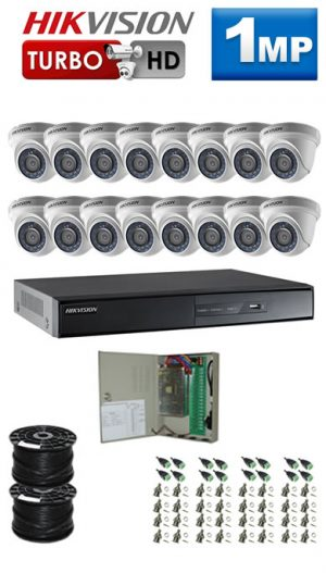 1Mp Custom HIKVISION Turbo HD Package - 16Ch DVR, 16 Dome Cameras