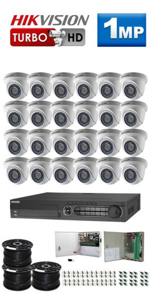 1Mp Custom HIKVISION Turbo HD Package - 32Ch DVR, 24 Dome Cameras