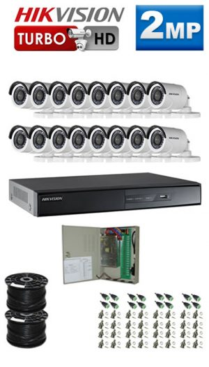 2Mp Custom HIKVISION Turbo HD Package - 16 Ch DVR, 16 Bullet Cameras