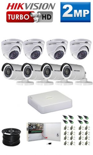 2Mp Custom HIKVISION Turbo HD Package - 8Ch DVR, 8 Bullet x Dome Cameras