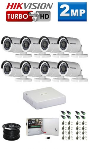 2Mp Custom HIKVISION Turbo HD Package - 8Ch DVR, 8 Bullet Cameras